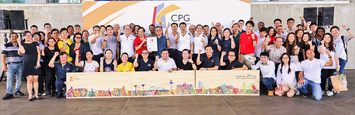 CPG Management and Staff presenting the completed Largest Artwork made of Fabric Strips at CPG20 event on 25 April 2019 at Marina Barrage