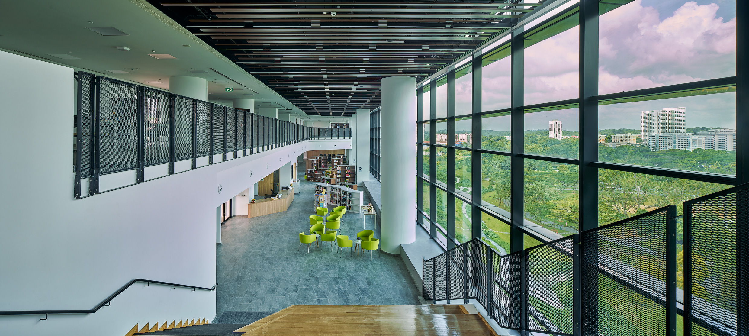 The tranquillity of EJC's library enhanced by external landscape