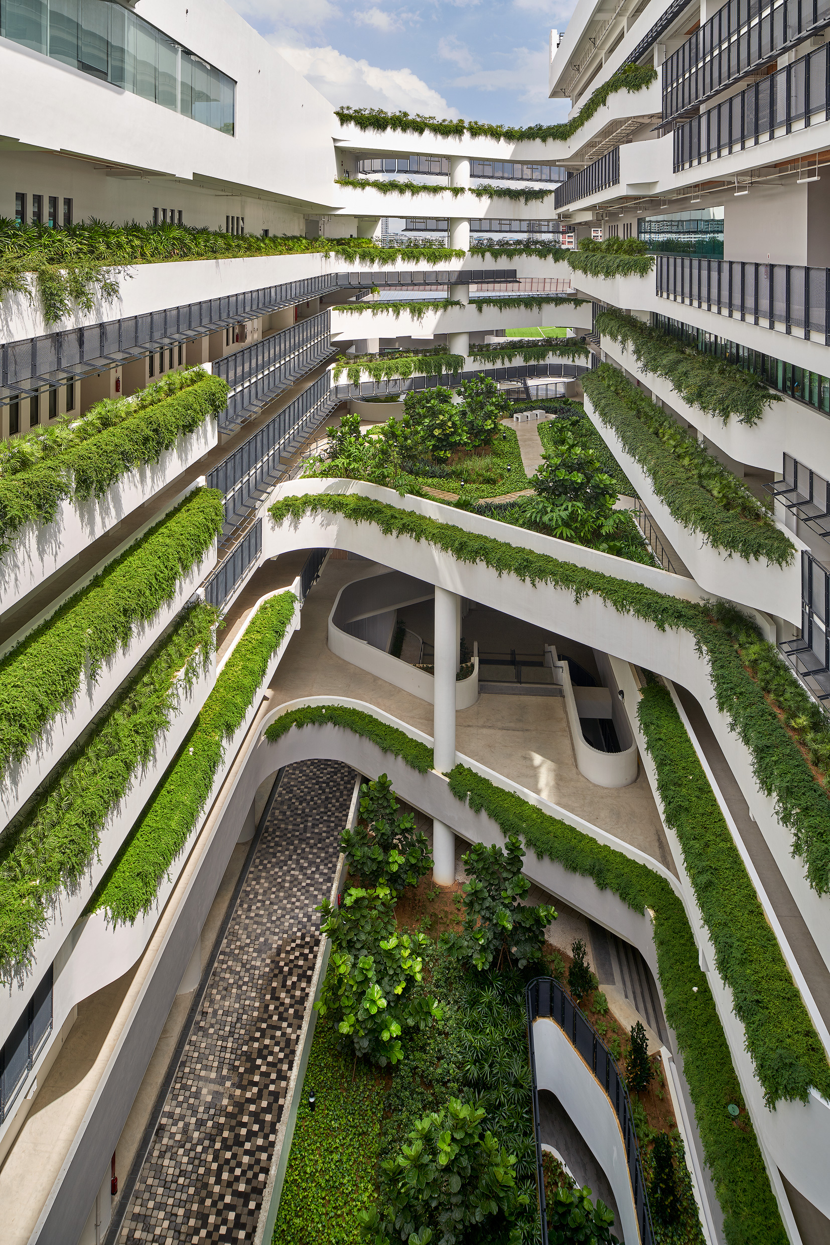 Multiple floors interwoven with greenery offer easy accessibility